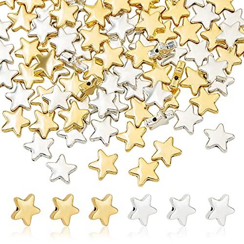 PandaHall Circa 120pcs Perline di Lega Stella Oro Argento tibetana Perline in Lega per Fare Braccialetti collane bigiotteria, Foro: 1.5mm