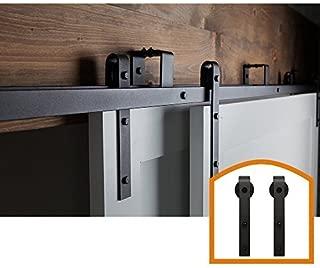 ZEKOO New Style 5 FT - 16 FT Bypass Sliding Barn Door Hardware Steel Track for Double Wooden Doors Closet Kitchen Kit (5FT New Style Bypass kit) Low Ceiling