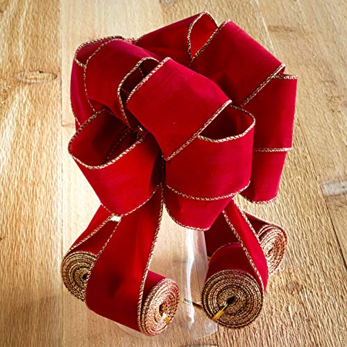 The Lakeside Collection Wired Ribbon Christmas Tree Topper with Cascading Bows - Red Velvet