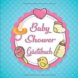 Baby Shower Gästebuch: Aktivitätsbuch für Gäste der Babyparty. 50+ Einträge mit Ratschlägen für die Eltern und Nachrichten ans Baby. Schnuller Fläschen für Mädchen