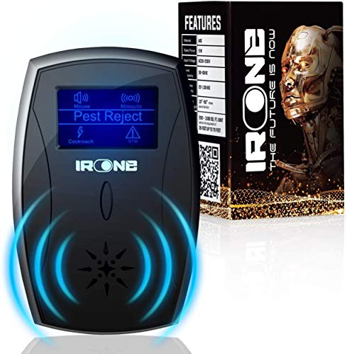 IRONE Ultrasonic Plug in - 2020 New - Outdoor/Indoor Electronic - Get Rid of Rat Mouse Squirrel Bug Bee Cockroach Fly Spider Mosquito-Safe for Pet (Black) (Black)