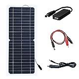 XINPUGUANG 10W 12v panneau solaire flexible module photovoltaïque monocristallin chargeur solaire avec câble pince crocodile DC pour camping-car, caravane, camping-car, bateau, camping, randonnée