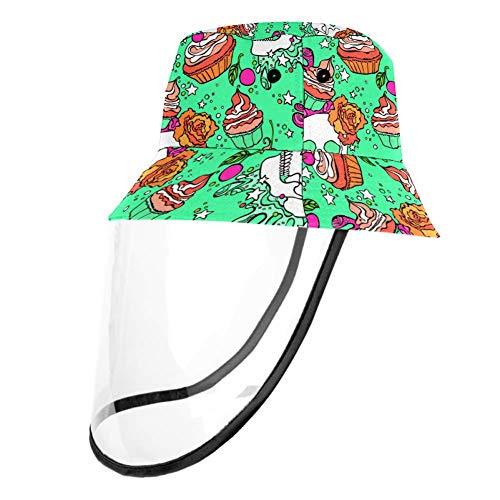 MUMIMI Pokrowiec bezpieczeństwa wiatroszczelny pyłoszczelny ochrona twarzy kapelusz słoneczny czaszka babeczka wzór kapelusz rybacki kapelusz przeciwsłoneczny kapelusz do aktywności na świeżym powietrzu