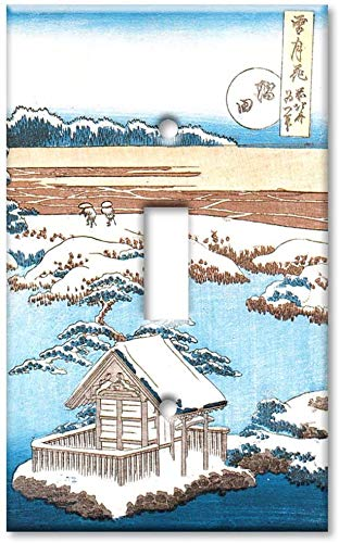 Light switch outlet cover plate- Single Gang Toggle OVERSIZE Switch Plate/OVER SIZE Wall Plate - Hokusai: Sumida River