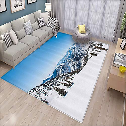 Toilet Floor mat,Landscape Snowy Mountain Ridges The Alps Winter Scenery Trees Clear Sky Photo,Non-Slip Decoration of Floor mats for Patio Doors 180x210cm