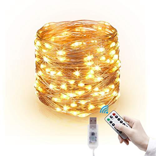 LED Lichterkette, 20m 200LED Lichterketten Lichter Lichterschlauch, wasserdicht 8 Modi Fernbedienung Außen Innen für Weihnachtsbeleuchtung Festliche Hochzeit Schlafzimmer Dekorationen (clear1)