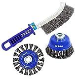 S&R Spazzole Metalliche per trapano e smerigliatrice. Set 3pz: 1 a tazza 75mm, 1 a disco 100 mm, 1 Spazzola Manuale.