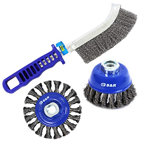 S&R Cepillos metálicos para taladro y amoladora. Juego de 3: 1 Cepillo de taza 75 mm, 1 cepillo redondo 100 mm, 1 cepillo manual para limpieza