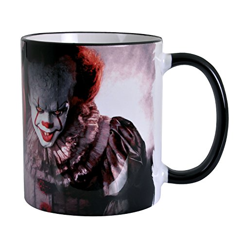 Elbenwald Stephen Kings ES Tasse Clown Pennywise mit Ballon und You'll Float Too Schriftzug Rundumdruck 320 ml Keramik grau