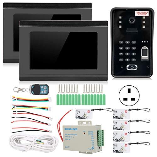 SHKUU Kit de videoportero de 7 Pulgadas, WiFi con Cable 2 monitores Huella Digital Contraseña Tarjeta IC Desbloqueo Remoto Timbre 100 u2011240V Kit de Bloqueo de Puerta