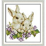 GSOLOYL Muestra de Pintura Cruzada Amor Eterno Dos Conejos Kits De Punto De Cruz Chinos De Algodón Estampada Ecológica Impresos 11CT Decoración De Año Nuevo De Bricolaje For El Hogar