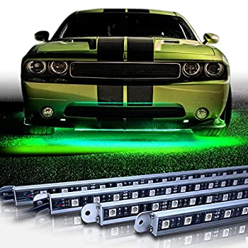 OPT7 Aura Aluminum Underglow LED Lighting Kit for Cars w/Wireless Remote Exterior Neon Accent Underbody Strips Multi-Color n Mode Waterproof Soundsync Aluminum Casing Door Assist Smart LED 4pc