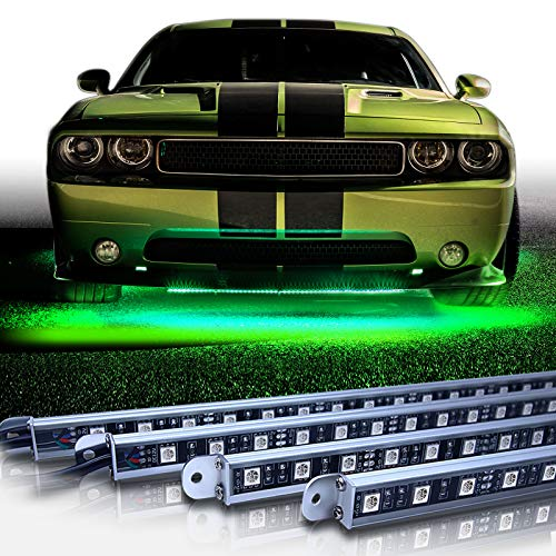 OPT7 Aura Aluminum Underglow LED Lighting Kit for Cars w/Wireless Remote, Exterior Neon Accent Underbody Strips, Multi-Color n Mode, Waterproof, Soundsync, Aluminum Casing, Door Assist, Smart LED, 4pc