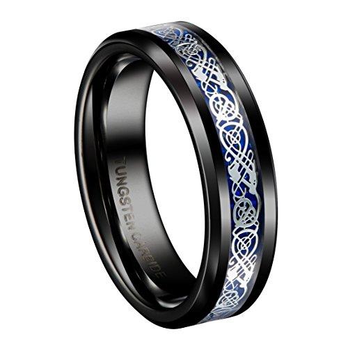 Queenwish 6mm Black Tungsten Carbide Ring Silvering Celtic Dragon Blue Carbon Fibre Wedding Band Size 7.5