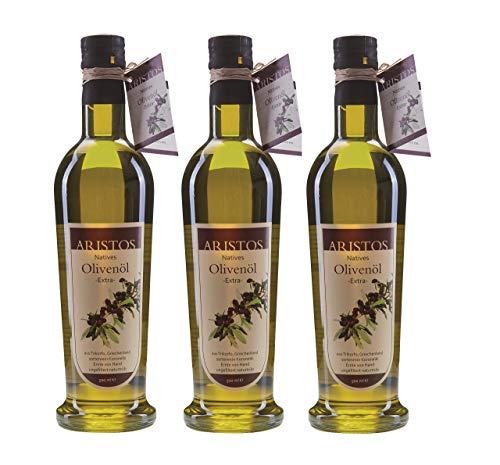 ARISTOS kaltgepresstes Extra Natives Olivenöl ( Vergine ) – 1x 500 ml feinstes original griechisches Koroneiki-Olivenöl naturtrüb aus ökologischem eigenem Anbau aus Messina