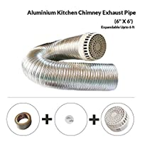 """Package contents: Single pics 6"""" x 6 feet flexible chimney exhaust pipe + PVC Cowl Cover +1 High Strength Waterproof Duct Tape and two screw for installing Fully flexible high quality aluminium pipe for 6"""" outlet on both side Expandable up to 6 feet ..."""