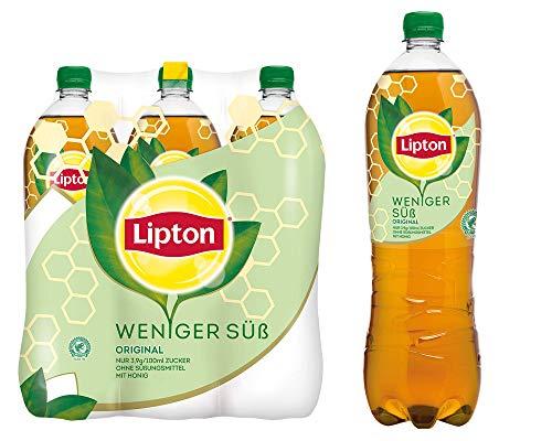 LIPTON ICE TEA Weniger Süß Original, Die weniger süße Erfrischung mit Honig & Tee Geschmack (6 x 1.25l)