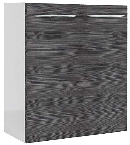 FACKELMANN Mini-Waschtischunterschrank VADEA/Gedämpfte Scharniere/Maße (B x H x T): ca. 52 x 60 x 24 cm/Schrank fürs kleine Bad und Gäste-WC mit 2 Türen/Korpus: Weiß/Front: Schwarz