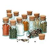 MamboCat Gewürzgläser mit Korken Klarglas I 12er Set kleine Glas-Behälter zur Aufbewahrung für Gewürze Salz Pfeffer Kräuter I Kork Gläser zum Befüllen - Rund Glas Vorratsbehälter leer 125ml