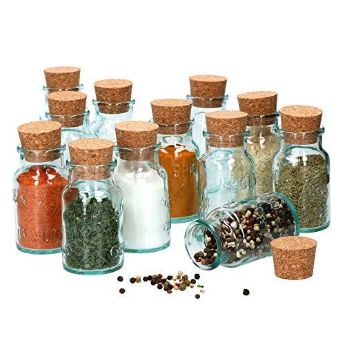 MamboCat 12 tarros de Especias Redondos de 125 ml + Tapa de Corcho Natural I latas de Cristal con Relieve de Cristal I Recipiente para Almacenamiento de Hierbas de Cocina y Especias