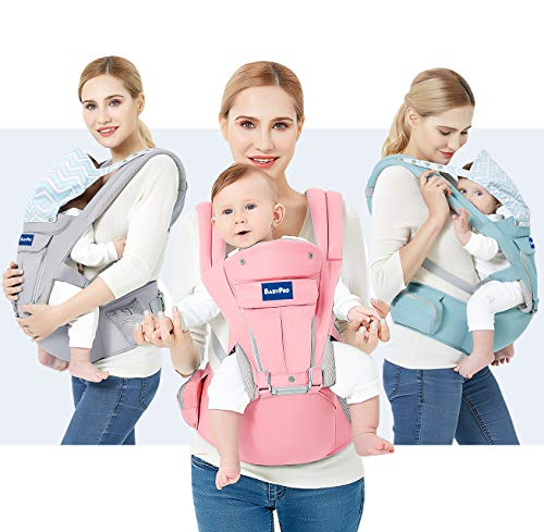 BabyPro 360 Baby Carrier with Hip Seat, 9 Ergonomic Positions, All Season Baby Sling for Newborns Infants Toddlers,Hands Free Baby Wrap Front Backpack