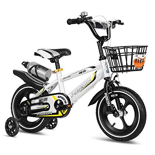 CivilWeaEU Bicicleta para Niños De 2 A 10 Años Bicicleta para Bebés con Taza De Agua Y Frenos De Mano Y Canasta Cochecitos De 12-18 Pulgadas De Altura Ajustable para Niños Y Niñas