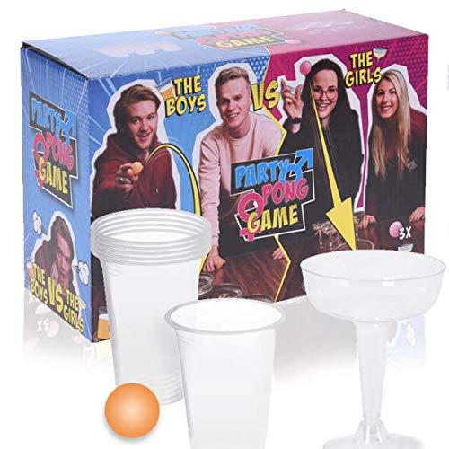 Smart Planet Juego de beber cerveza pong para mujer con 6 copas de champán, incluye 6 bolas, perfecto para fiestas, Nochevieja, cumpleaños, fiestas para cualquier ocasión.