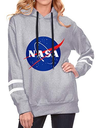 YUHX NASA Hoodie Damen Pullover Top Logo Grafik Weltraum Astronaut Langarm Sweatshirt Oberteile Bluse, Grey, L