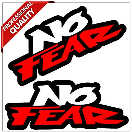 Biomar Labs® 2 Stück Vinyl Aufkleber No Fear Car Window Stickers Fenster Autoaufkleber Auto Moto Motorrad Fahrrad Helm Tuning B 247