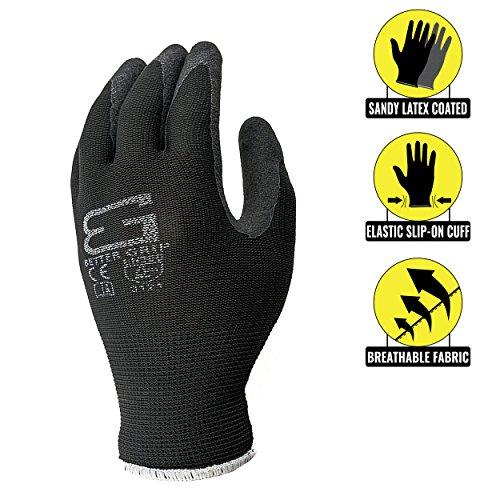 Better Grip Ultra-Thin BGSB1 Nylon Sandy Latex Coated Work Gloves, 4 Pairs/Pack (Medium, Black) -  RK Industries Group, Inc, BGSB1-8