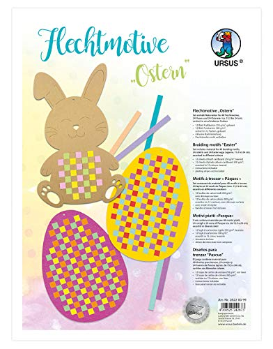 Ursus 28220099 Flechtmotive Ostern, Material für 48 Motive, in 12 verschiedenen Farben, ca. 15,5 x 24 cm, inklusive Bastelanleitung, kreative Beschäftigung für Kinder, ideal als Geschenk, bunt
