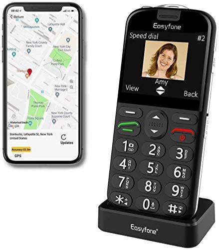 Easyfone Prime-A4 Smart Seniorenhandy ohne Vertrag (mit SOS-Funktion, GPS, Farbdisplay 2,31 Zoll, Mobiltelefon mit extra großen Einzeltasten und Tischladestationzur einfachen Bedienung) (A4 Schwarz)