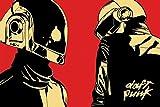 Daft Punk Cartoon/Helmets Poster Drucken (91,44 x 60,96 cm)