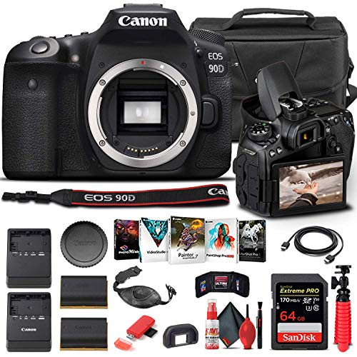 Canon EOS 90D DSLR Camera (Body Only) (3616C002) + 64GB Memory Card + Case + Corel Photo Software + LPE6 Battery + External Charger + Card Reader + HDMI Cable + Deluxe Cleaning Set + More (Renewed)