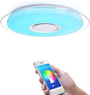 OFFDARKS - Plafóns LED Lámparas de Techo con Altavoz Bluetooth, APP Mando a Distanci + brillo ajustable + color change (A - 36W ?450MM Redondo)