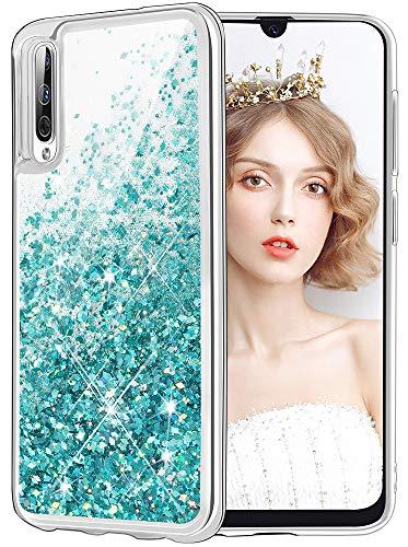 wlooo Samsung Galaxy A50 Hülle, Handyhülle Samsung Galaxy A50, Handyhülle Samsung Galaxy A50 Glitzer, Samsung Galaxy A50 Hülle Glitzer, Samsung Galaxy A50 Hülle Silikon, Samsung A50 Hülle (Teal)