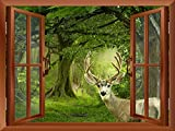 wall26 - Deers in a Mystical Forest Outside of an Open Window | Removable Wall Sticker/Wall Mural - 36'x48'