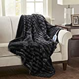 Beautyrest Duke Heated Blanket Luxury Faux Fur Oversize Electric Throw Premium Soft Cozy Brushed Long Fur for Bed, Couch with 3 Heat Setting Controller, Auto Shut-Off Function, 50'x70', Black