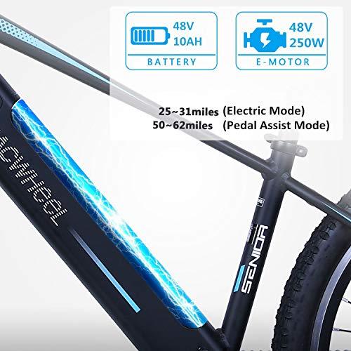 Macwheel 27.5' Mountain Electric Bike, 250W Brushless Motor, Removable 480Wh 48V/10Ah Lithium Battery, Shimano 7-Speed, Suspension Fork, Tektro Dual Disc Brakes