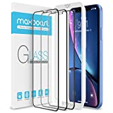 Maxboost Edge-to-Edge (3 Pack) Screen Protector for Apple iPhone 11 and iPhone XR (6.1') [Touch Accurate] Full Framed Tempered Glass Screen Protector Compatible with iPhone XR/11 - Pack of 3