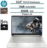 2020 Newest HP 15.6' Touchscreen Widescreen LED Laptop Computer, AMD Ryzen 5 3500U(up to 3.7GHz,Beat i5-7200U), 16GB RAM DDR4, 256GB SSD, AMD Radeon Vega 8, HDMI, Windows 10 w/Ghost Manta Accessories