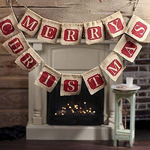 NUOLUX Merry Christmas Jute Burlap Banners,Christmas Banner,Christmas Decoration