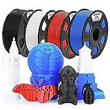 ACCCREATE 1.75mm PLA Filament 3D Printer Filament Black + White + Red + Blue 4KG Bundle for FDM Printers
