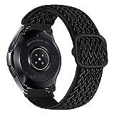 iBazal 22mm Correa Galaxy Watch 46mm Pulsera Nylon Banda Trenzada Lazo Loop Repuesto para Samsung Galaxy Watch 3 45mm/Gear S3 Frontier Classic, Huawei Watch GT/GT 2 46mm Woven Sport Band - Negro