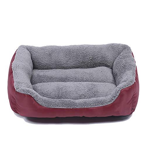Himora Hond Bedden Waterdicht Bodem Bed Honden Zachte Fleece Warm Kat Bed Huis Puppy Bed Huisdier Kussen Mat voor Grote Honden, M, Wijn
