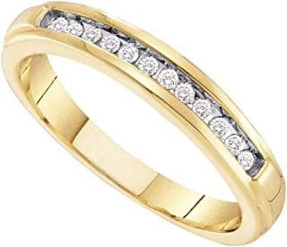 FB Jewels 10kt Yellow Gold Womens Round Diamond Single Row Band Ring 1/8 Cttw Size 7