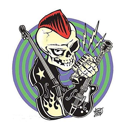 hotrodspirit Aufkleber Punk a la Crete Rot Gitarre Kontrabass Aufkleber Ince Ray