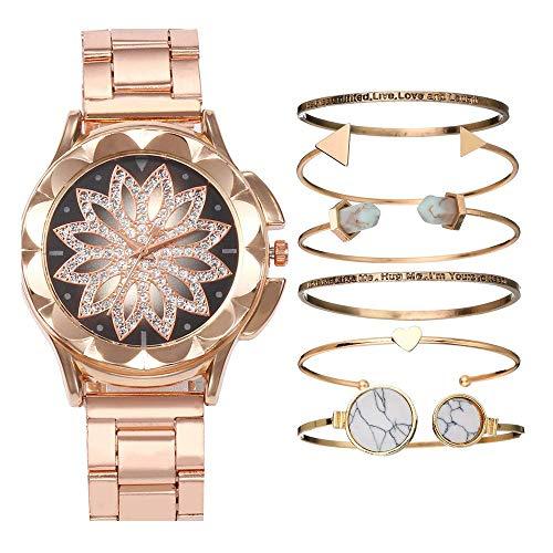 GYR Reloj de Cuarzo para Damas, Reloj de Puntero de Flores Calado con Diamantes para Enviar 6 Pulseras a Juego, Reloj de Regalo para niña gjkl Gold