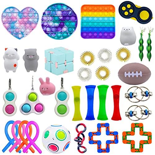 Fidget Toys Set, 34 Piezas Paquete de Juguetes Fidget, Juguetes Sensoriales con Simple Dimple Pop Bubble Infinite Cube, Fidget Toy Packs Barato, Regalos para Niños, Adultos con Autismo