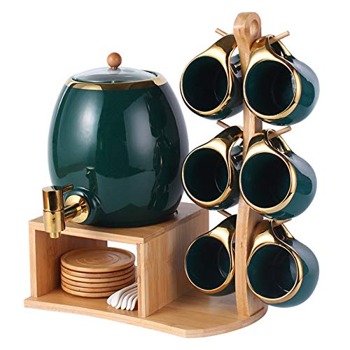 Tea Cup Set Ceramic Coffee Cup Set Dark Green Porcelain Cup Saucer Set With Display Stand Cup Holder And Spoon For Tea Coffee Afternoon Tea Party